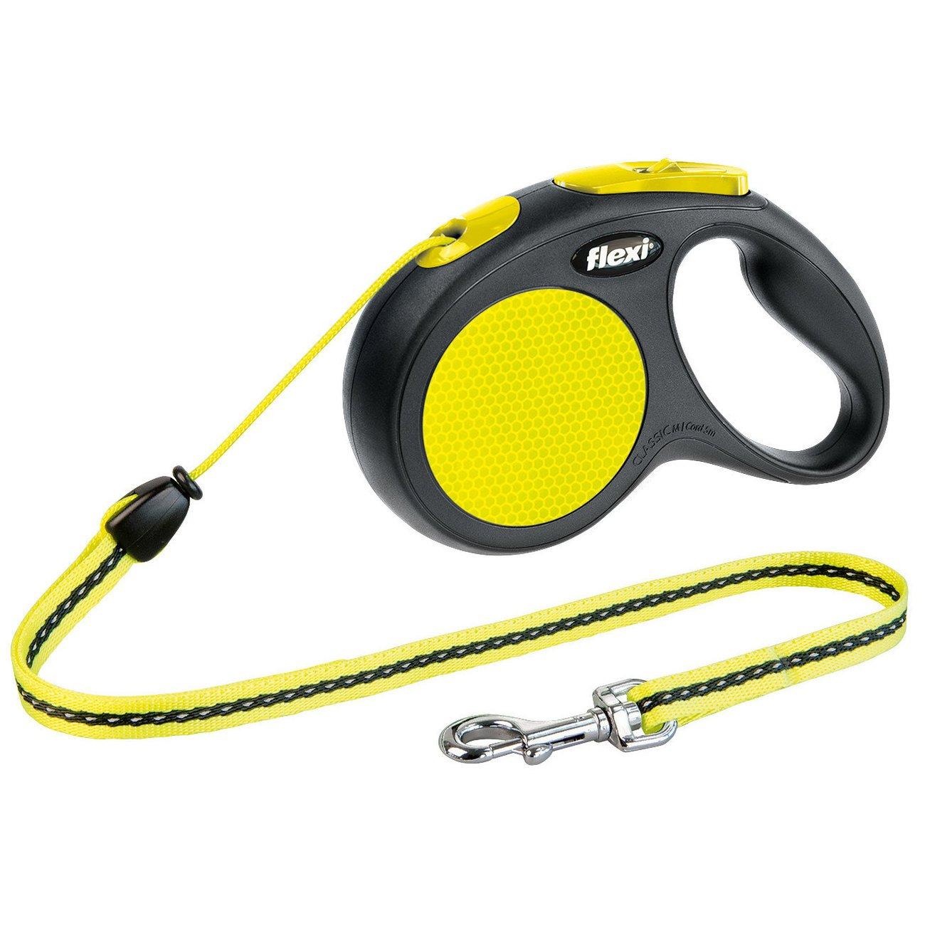 flexi New Neon Seil Roll Leine, M: 5 m, schwarz/neon, bis max. 12 kg, Seil