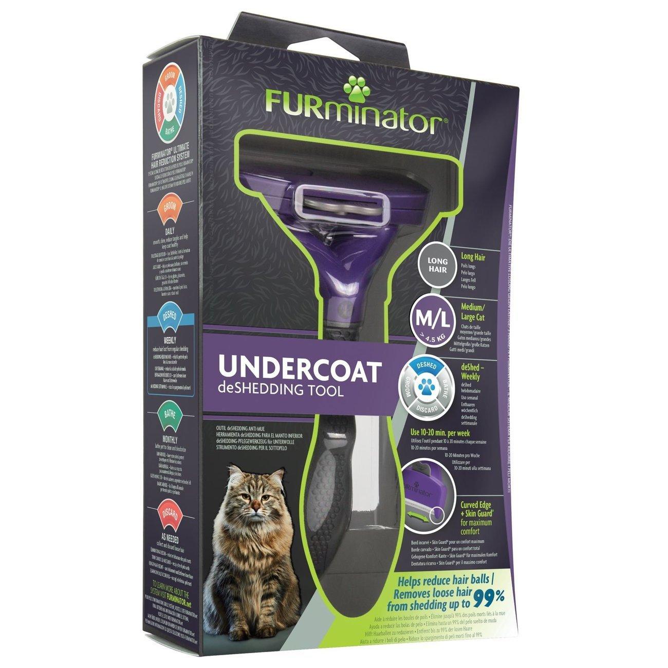 FURminator® Katzen-Fellpflegewerkzeuge Langhaar, für große langhaarige Katzen, Gr. M/L, ab 4,5 kg