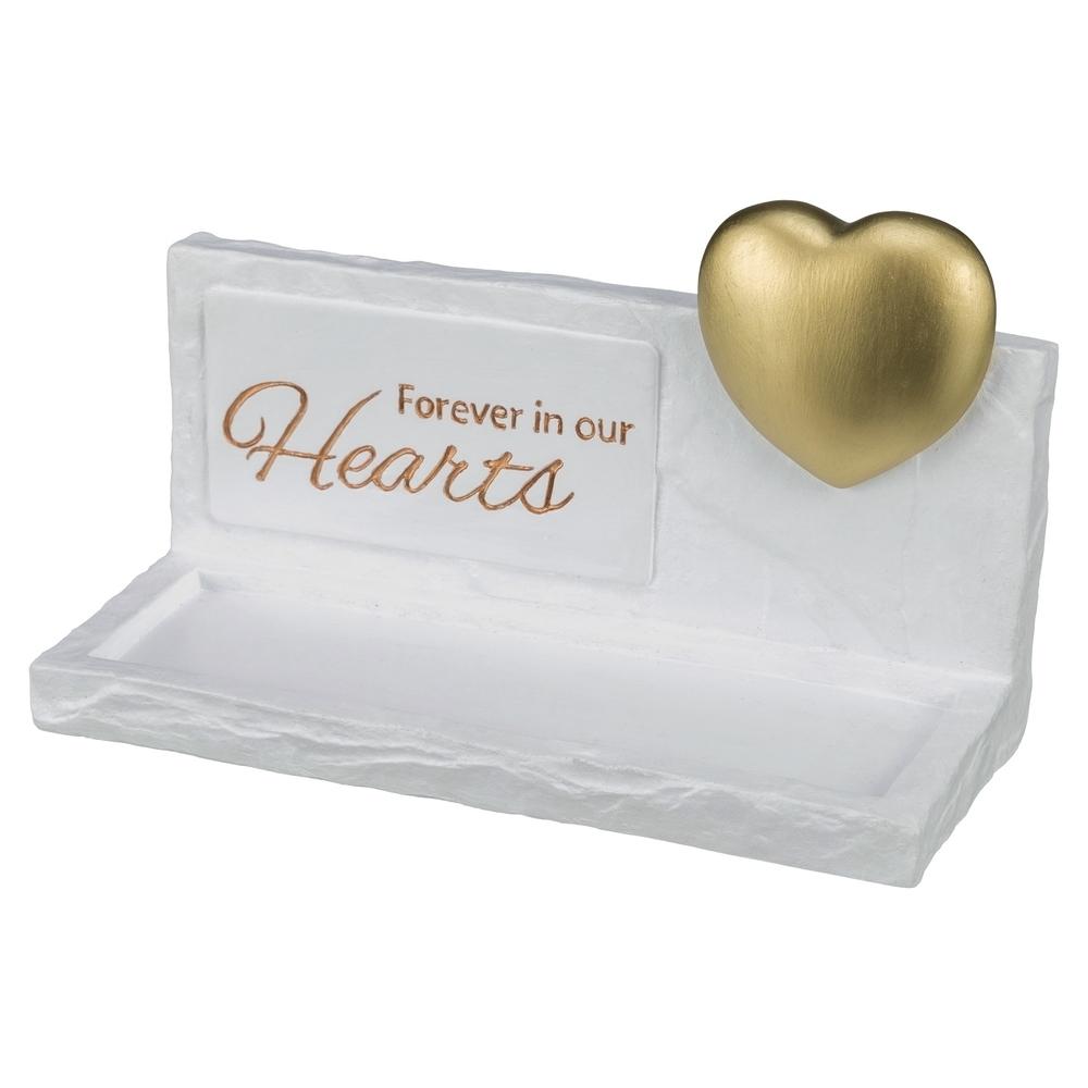 Trixie Gedenktafel Heart, Haustier Gedenkstein, 20 × 12 × 7 cm, weiß