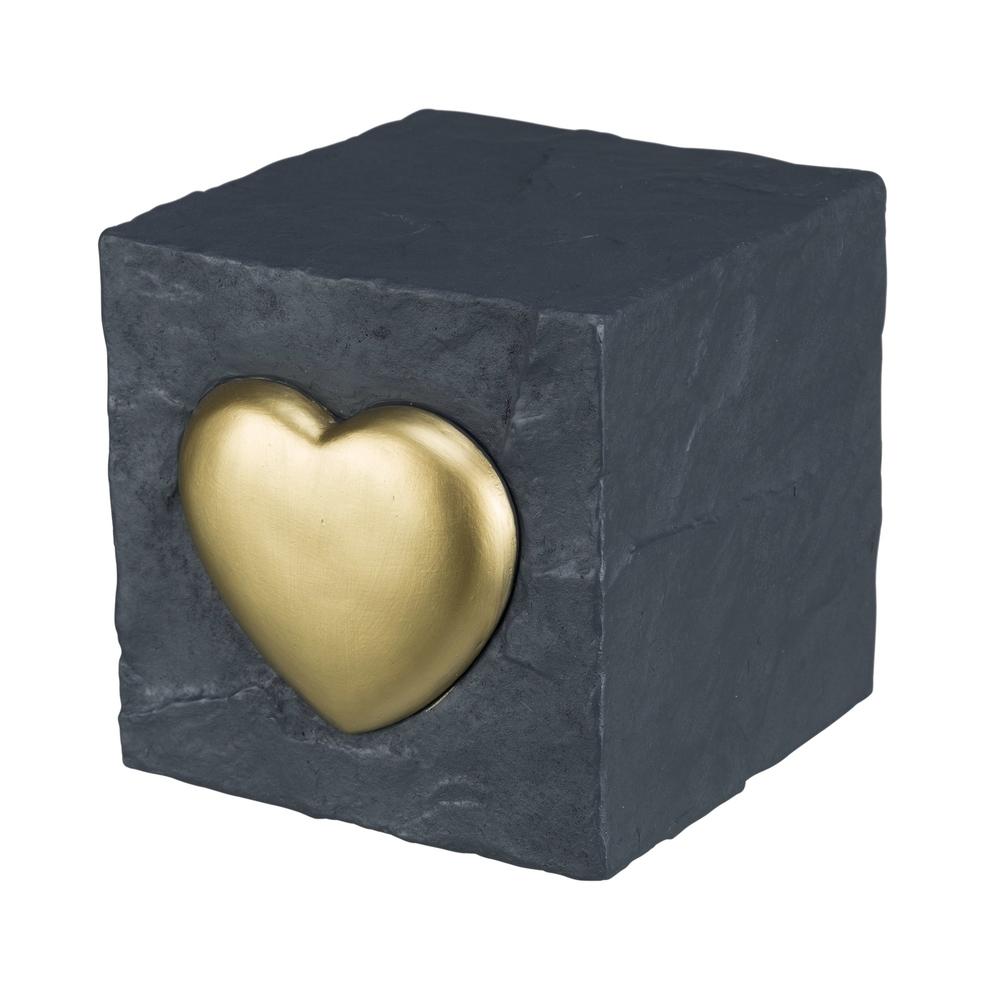Trixie Grabstein für Haustiere Gedenkwürfel mit Herz, 11 × 11 × 11 cm, grau