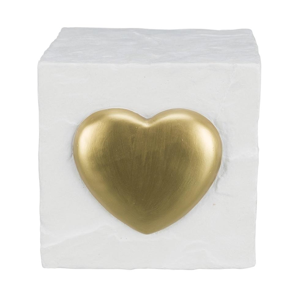 Trixie Grabstein für Haustiere Gedenkwürfel mit Herz, 11 × 11 × 11 cm, weiß