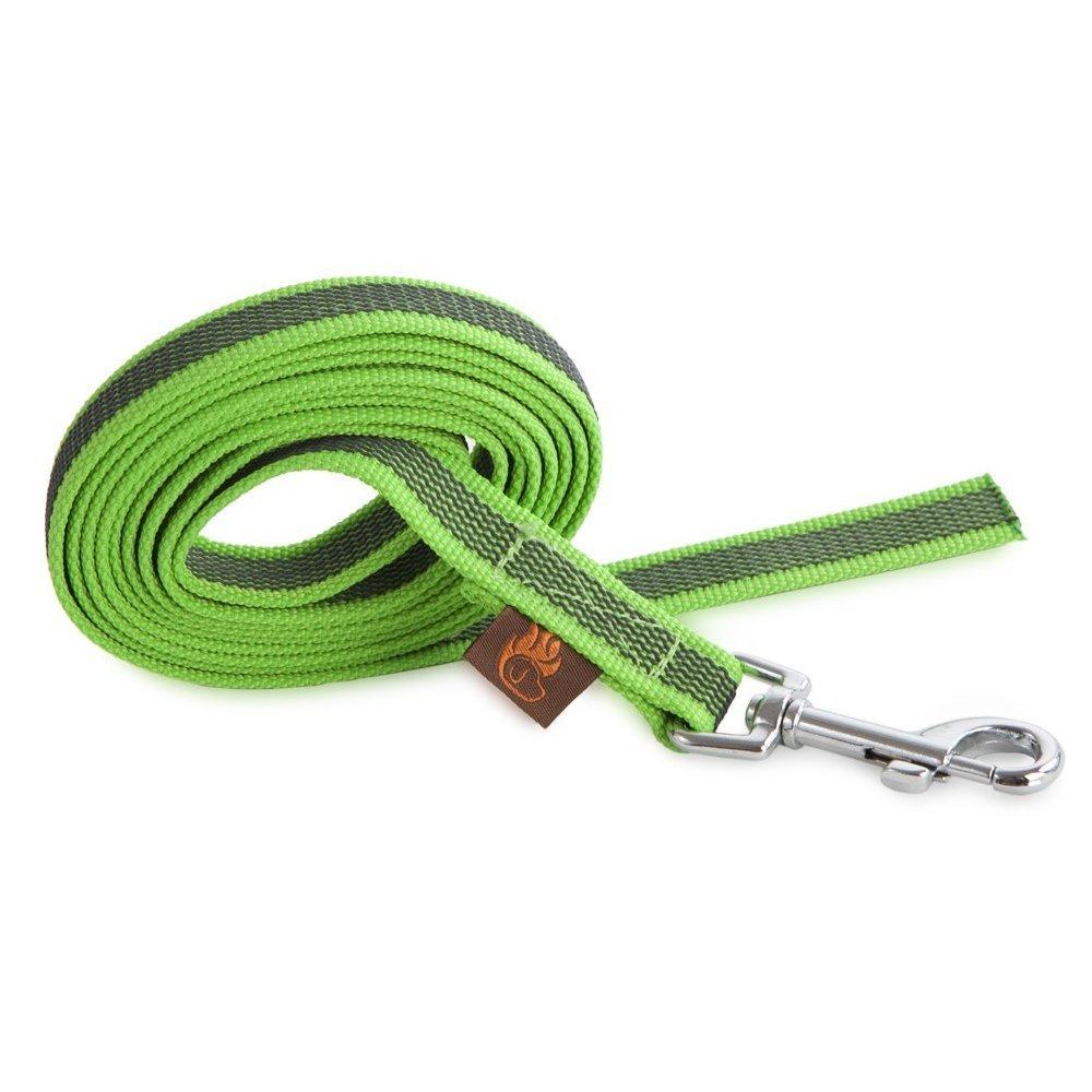 Firedog Gurtleine für Hunde ohne Handschlaufe, 20mm 20m ohne Handschlaufe neon grün