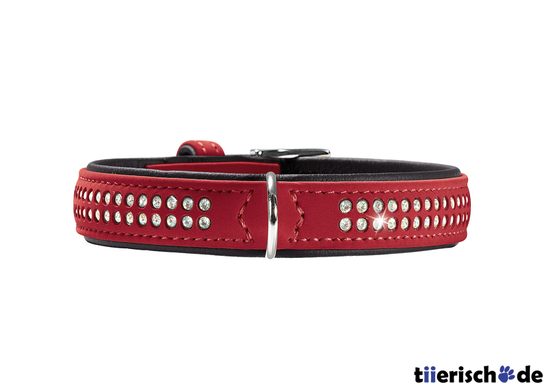 Hunter Halsband mit Swarovski Strass Softie Deluxe, S, 33-39 cm, B22mm, rot