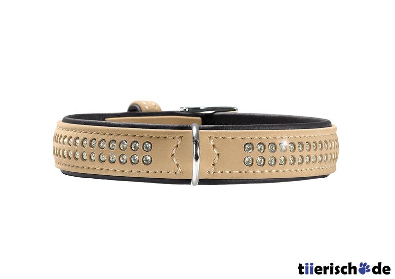 Hunter Halsband mit Swarovski Strass Softie Deluxe, XS-S, 28-34 cm, B22mm, beige