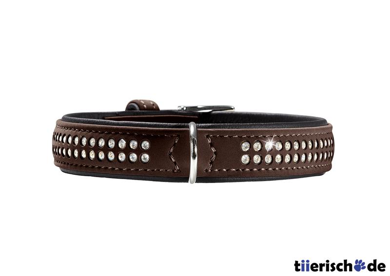 Hunter Halsband mit Swarovski Strass Softie Deluxe, XS, 23-29 cm, B22mm, braun