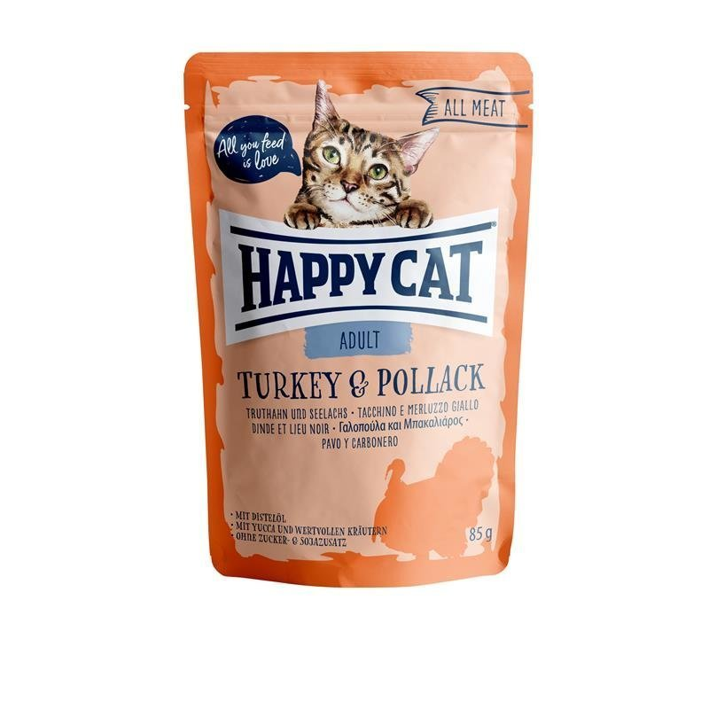 Happy Cat Pouches All Meat Adult, Truthahn & Seelachs 24 x 85g