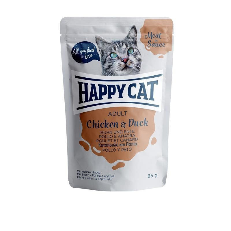 Happy Cat Pouches Meat in Sauce Adult, in Sauce Huhn & Ente 24 x 85g