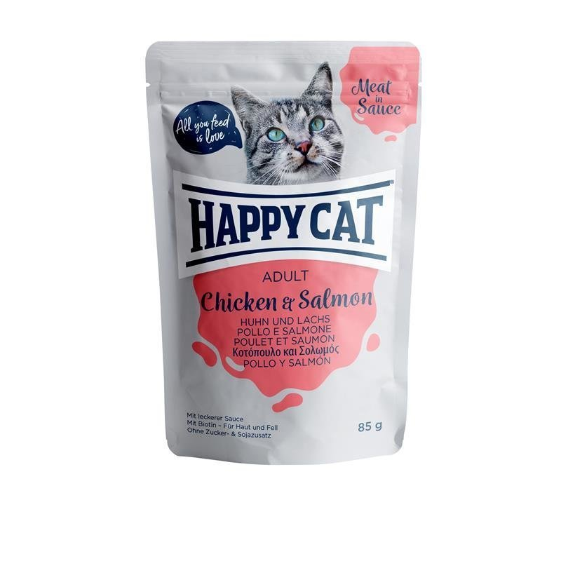 Happy Cat Pouches Meat in Sauce Adult, in Sauce Huhn & Lachs 24 x 85g
