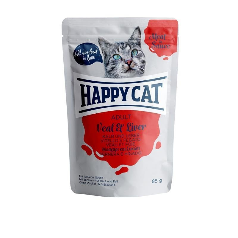 Happy Cat Pouches Meat in Sauce Adult, in Sauce Kalb & Leber 24 x 85g