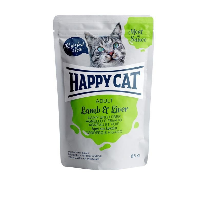 Happy Cat Pouches Meat in Sauce Adult, in Sauce Lamm & Leber 24 x 85g