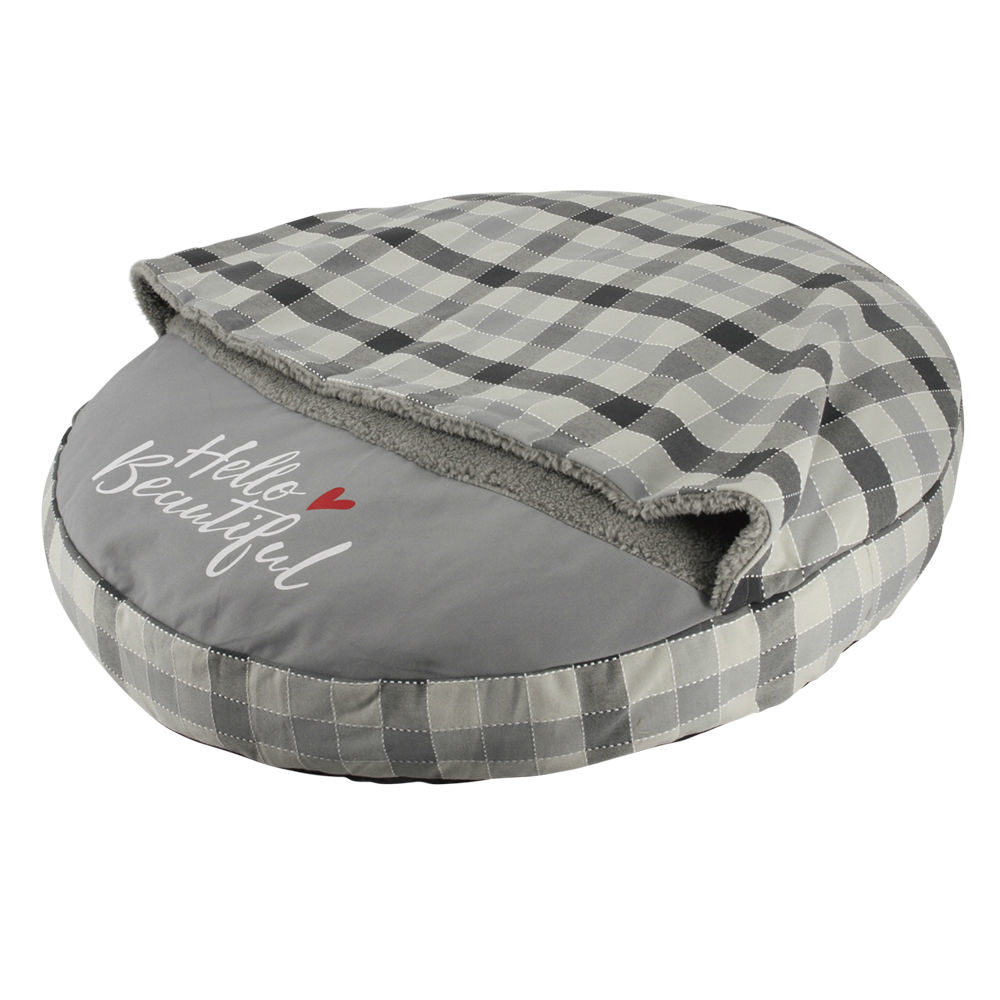 Nobby Haustier Kissen rund Campo mit Kuscheldecke, Ø 75 cm, grau
