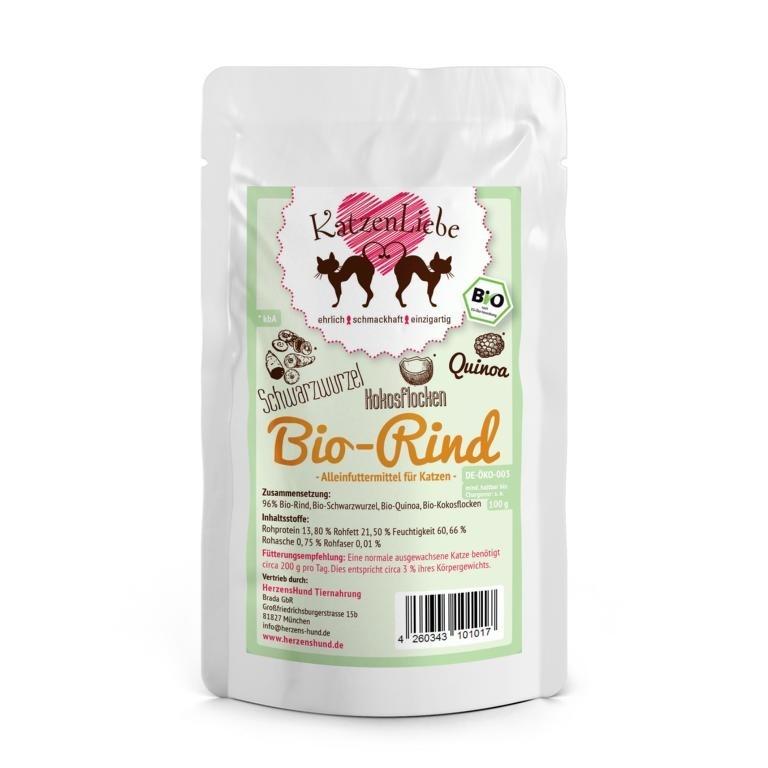 Herzenshund Katzenliebe Bio Katzenfutter, Bio-Rind 15x100g