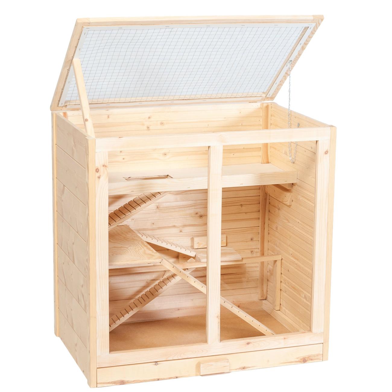 Silvio Design Holz Hamsterkäfig Arni, L53 x B80 x H80 cm, natur
