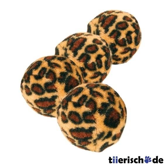 Trixie 4 Katzen Spielbälle Leopardenmuster, 4 Stk mit Leopardenmuster, ø 4 cm