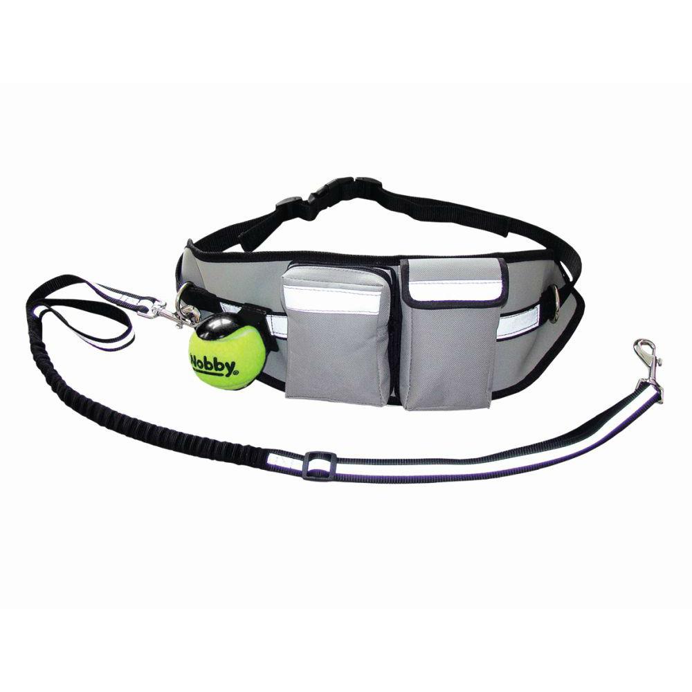 Nobby Hüftgurt Expert für Hundehalter mit dehnbarer Leine, Tasche: 52 x 14 cm; Gurt: 50-115 cm; Leine: 95-120 cm