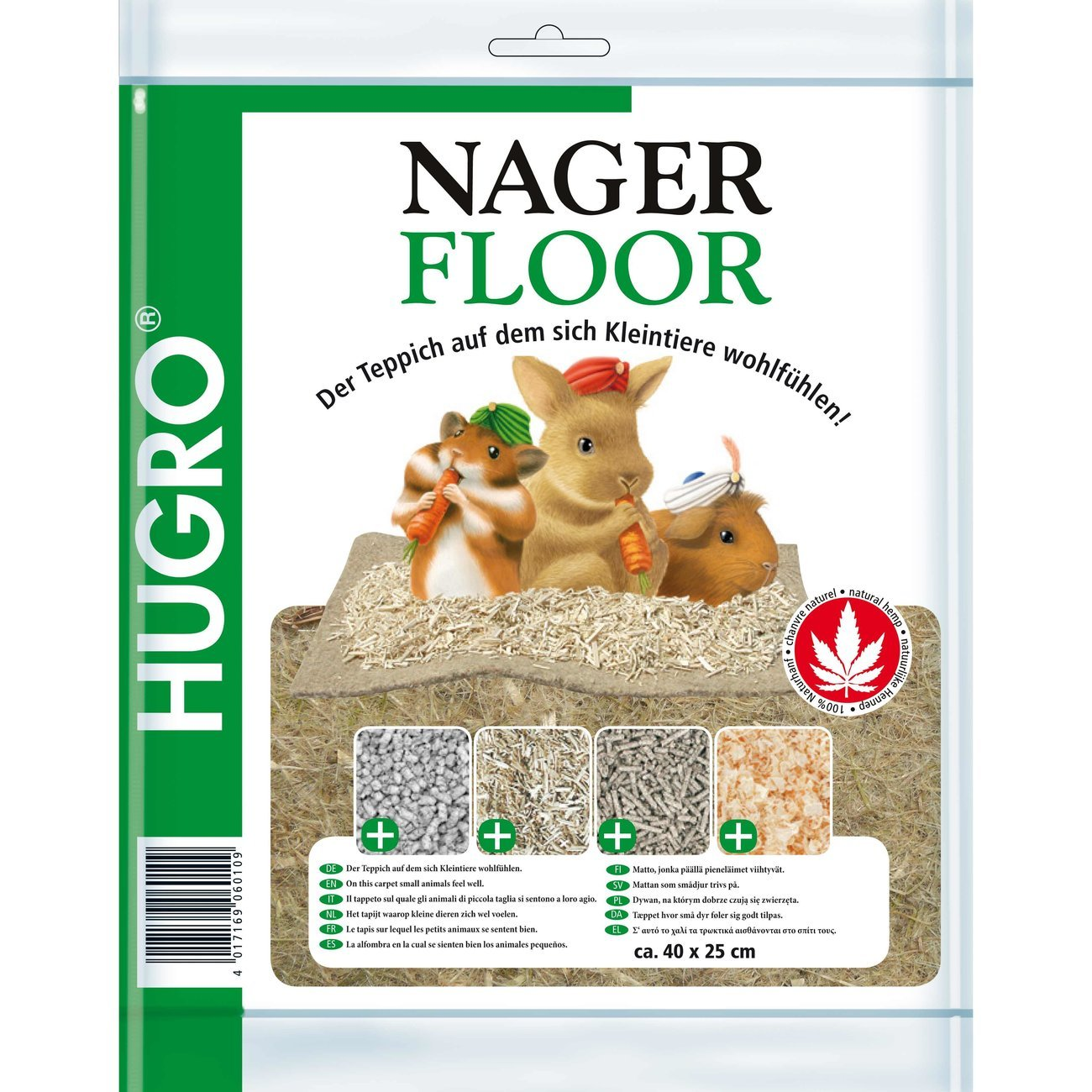 Hugro Nagerteppich Nagerfloor Hanfmatte, 40x25cm