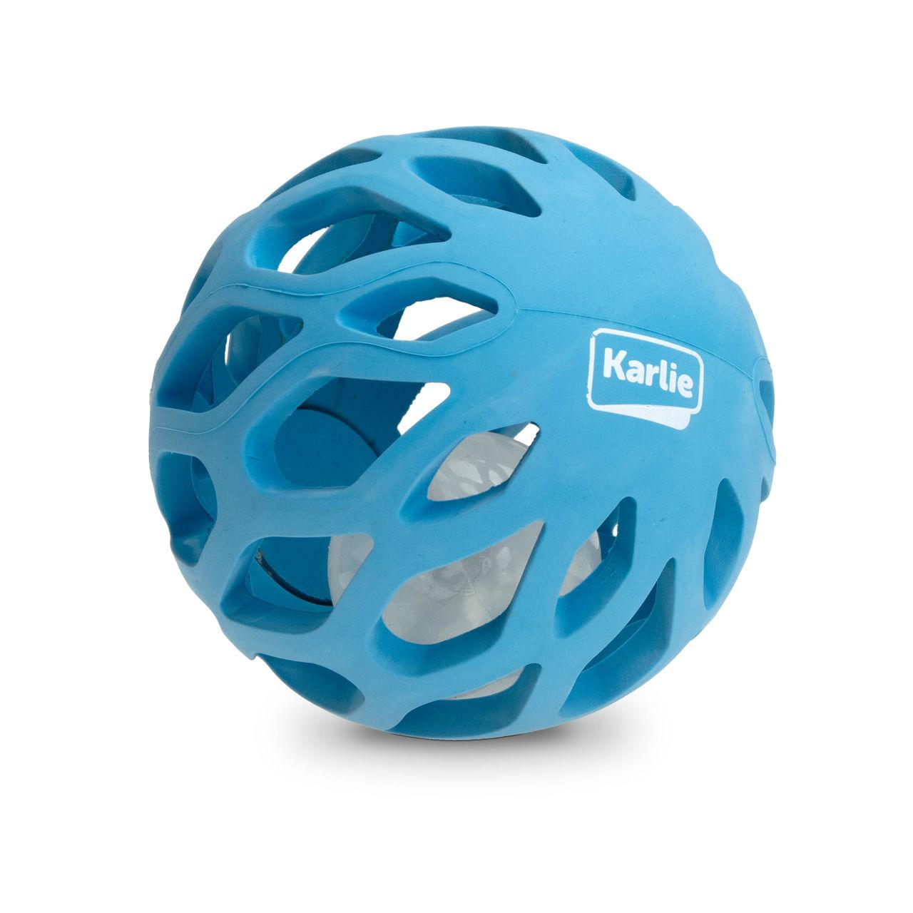 Karlie Hunde Gitterball mit TPR LED Leuchtkugel, ø: 11.5 cm blau