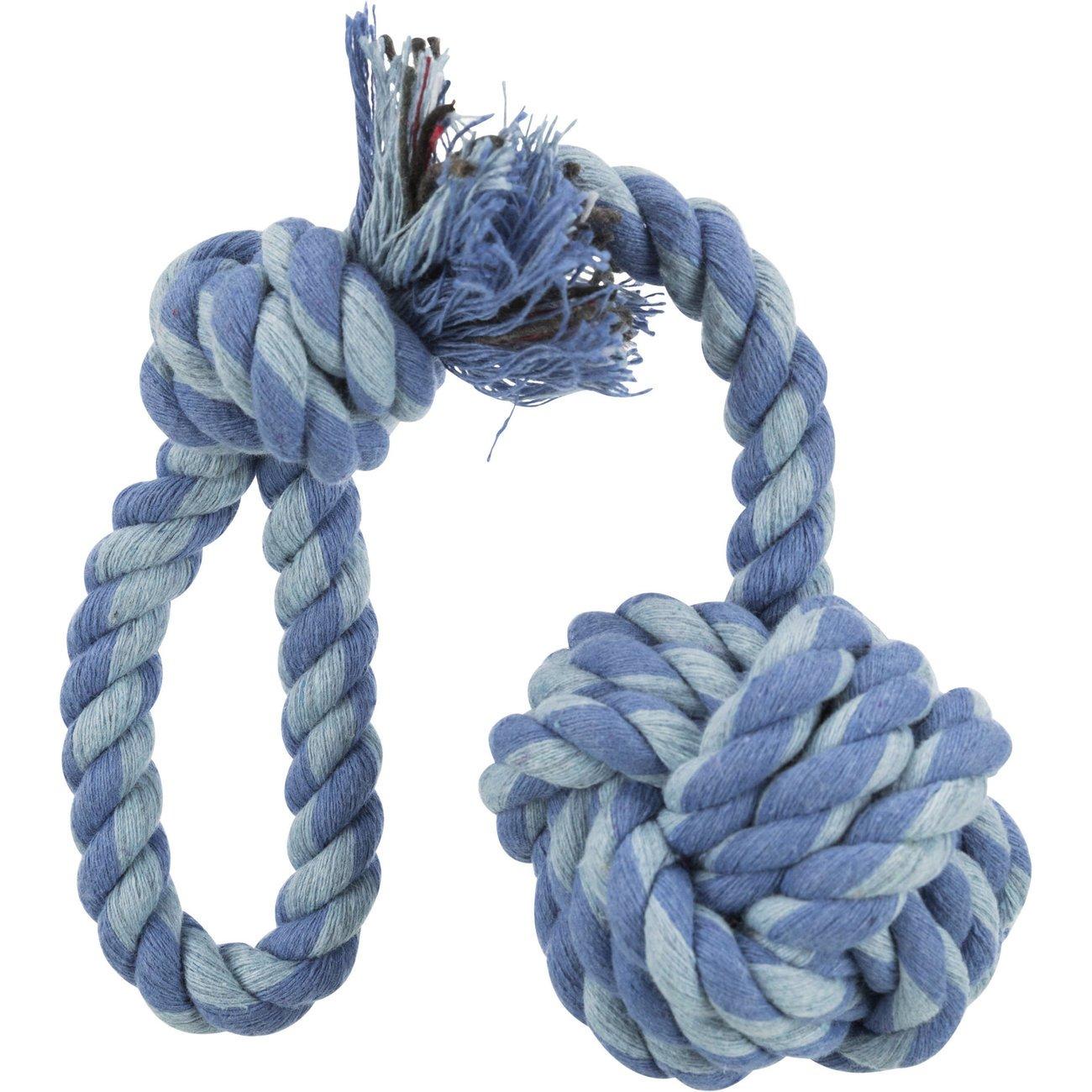 Trixie Hunde Tau Spielball am Seil, ø 5,5 cm / 30 cm