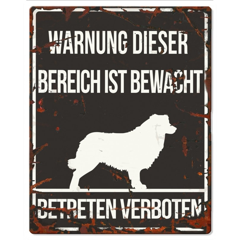 DREAM and DARE Hunde Warnschild Collie Metall