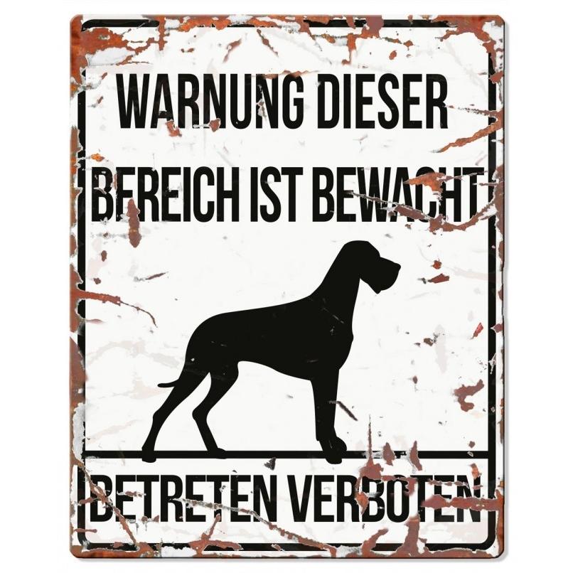 EBI Hunde Warnschild Dänische Dogge, 20 x 25 cm, weiß