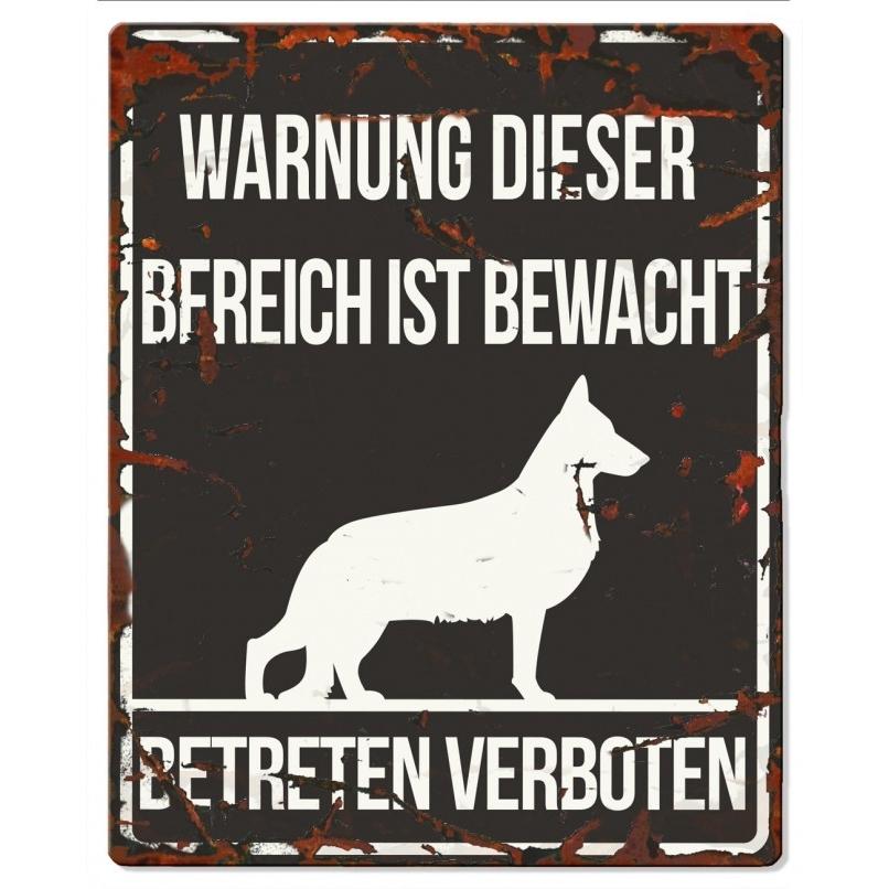EBI Hunde Warnschild Deutscher Schäferhund, 20 x 25 cm, schwarz