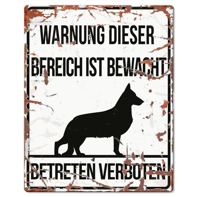 EBI Hunde Warnschild Deutscher Schäferhund, 20 x 25 cm, weiß