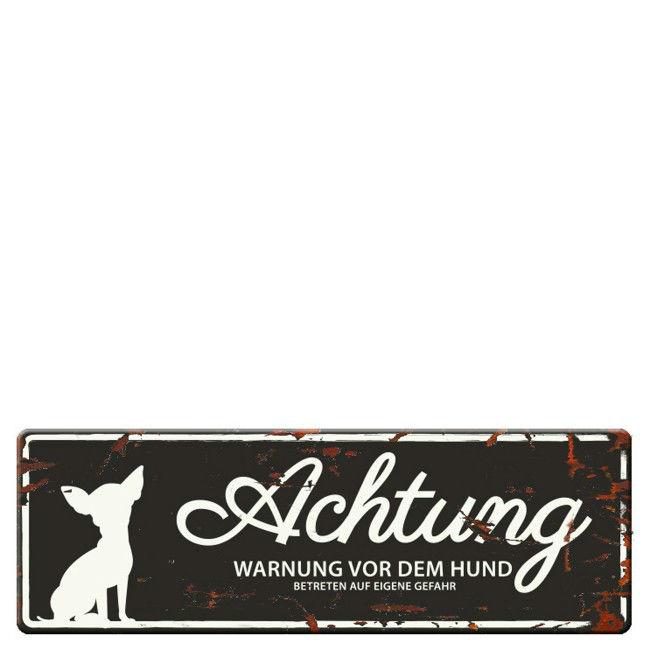 EBI Hunde Warnschild Mini Chihuahua, schwarz, 12x4 cm