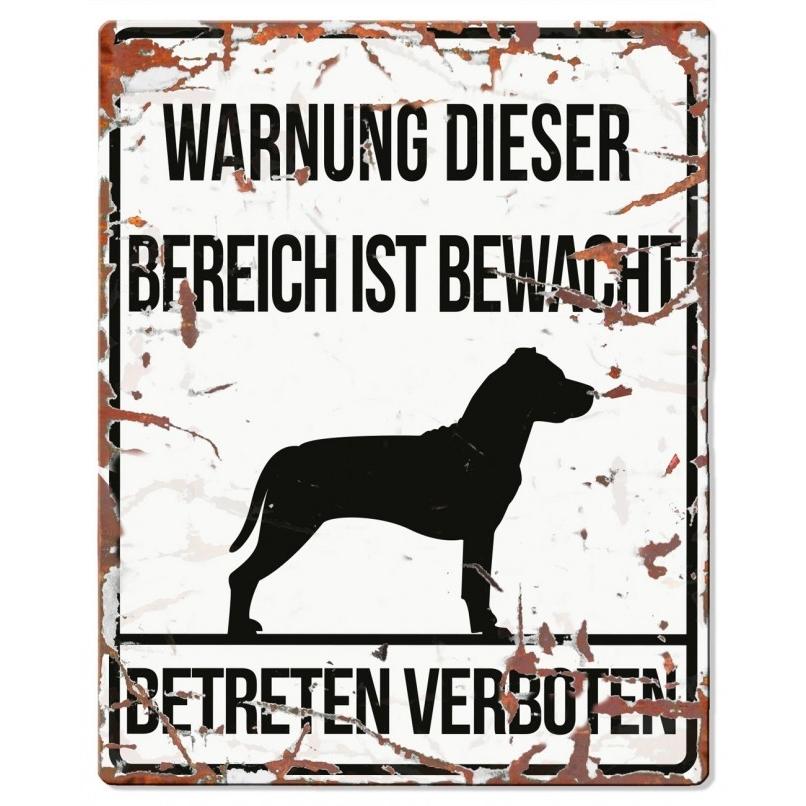 EBI Hunde Warnschild Stafford, 20 x 25 cm, weiß