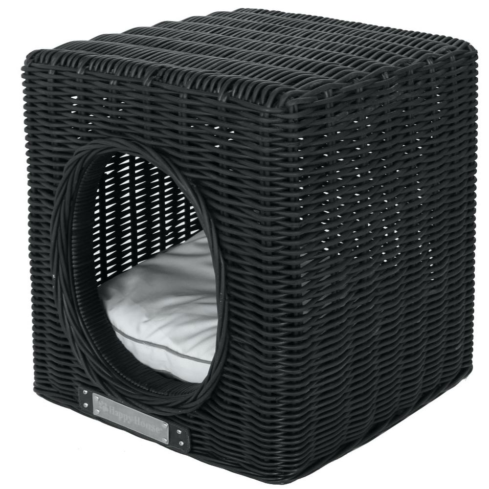 Happy House Hundehöhle Katzenhöhle aus Rattan, 41 cm x 41 cm x 46 cm, schwarz