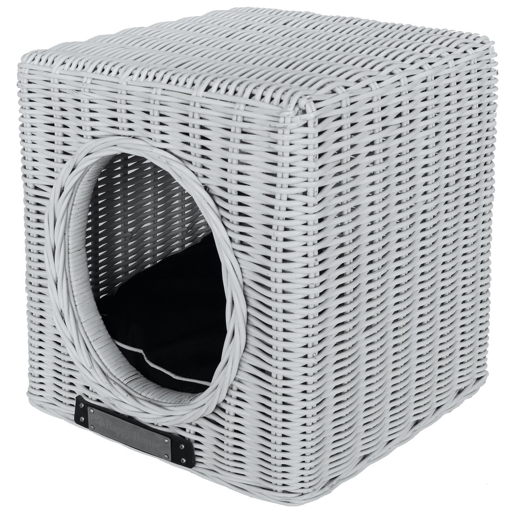 Happy House Hundehöhle Katzenhöhle aus Rattan, 41 cm x 41 cm x 46 cm, weiß
