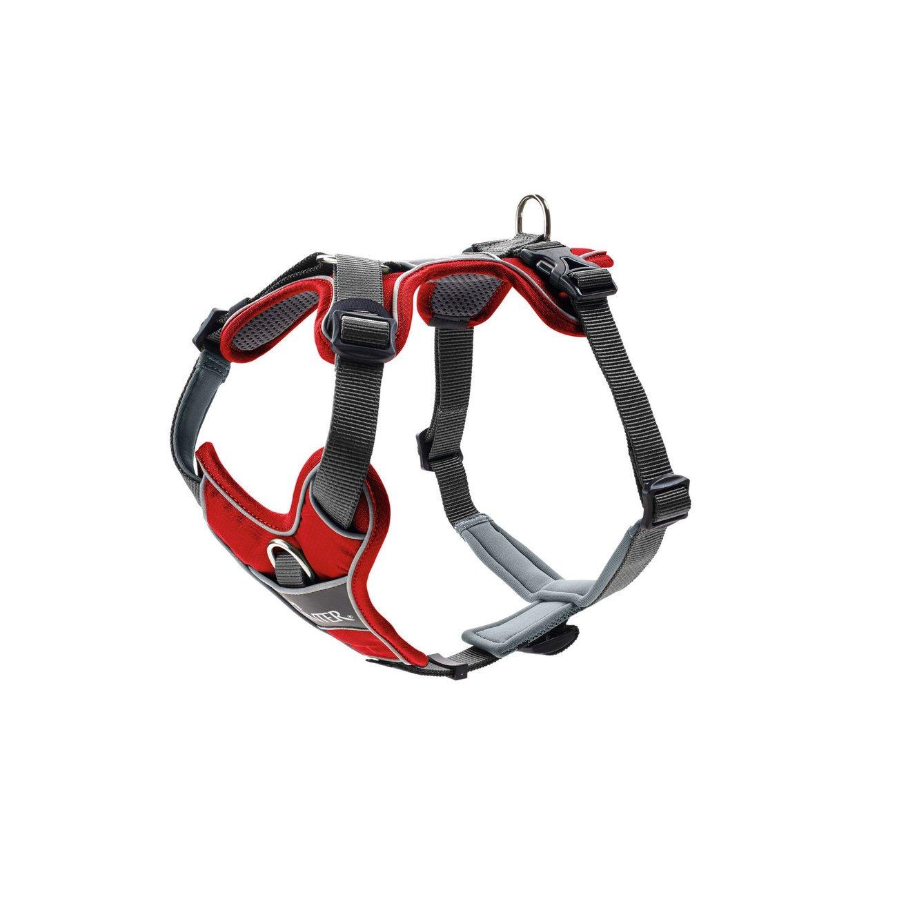 Hunter Hundegeschirr Divo, Gr. S: Hals 22-38 cm, Bauch 45-56 cm, rot/grau