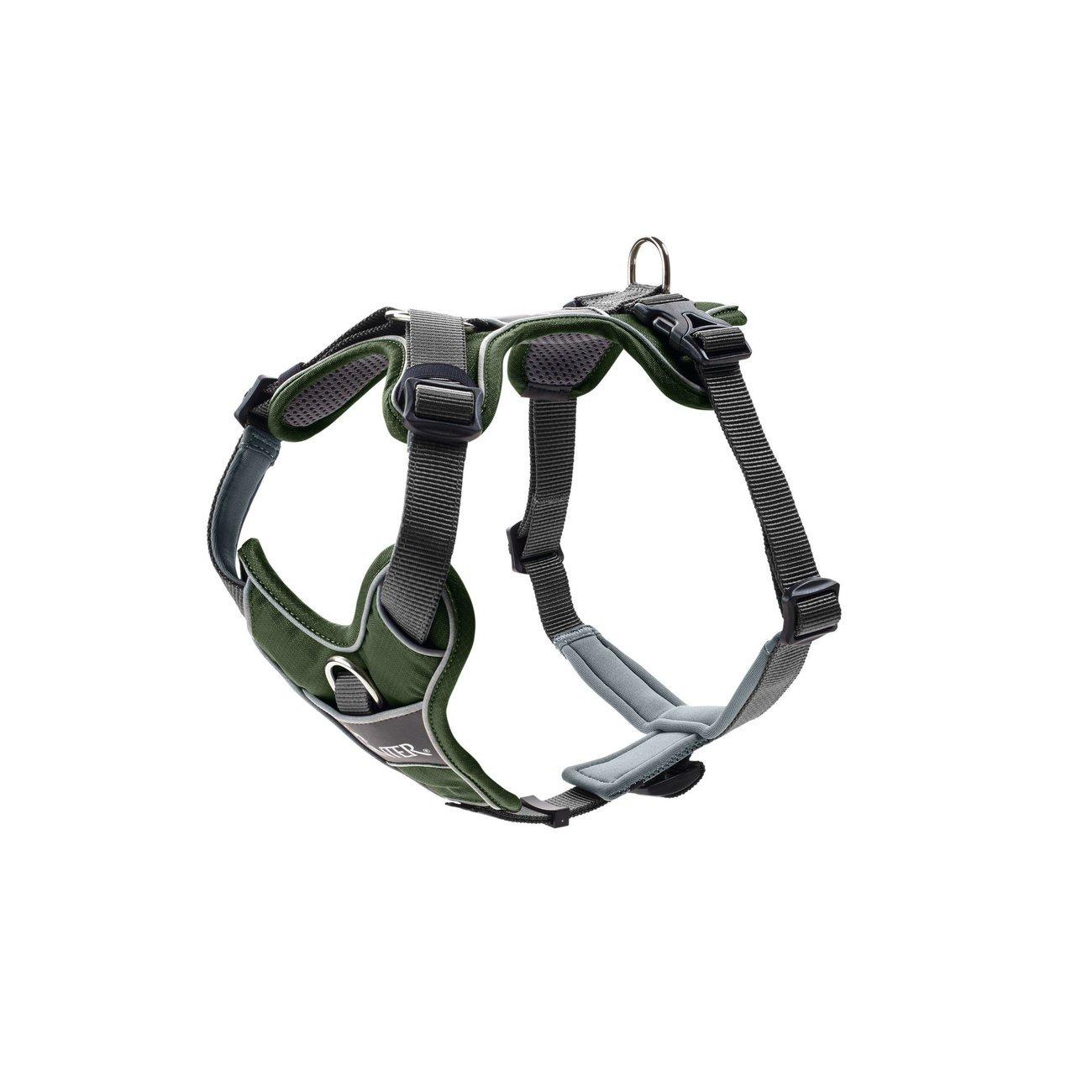 Hunter Hundegeschirr Divo, Gr. S-M: Hals 30-42 cm, Bauch 52-68 cm, grün/grau