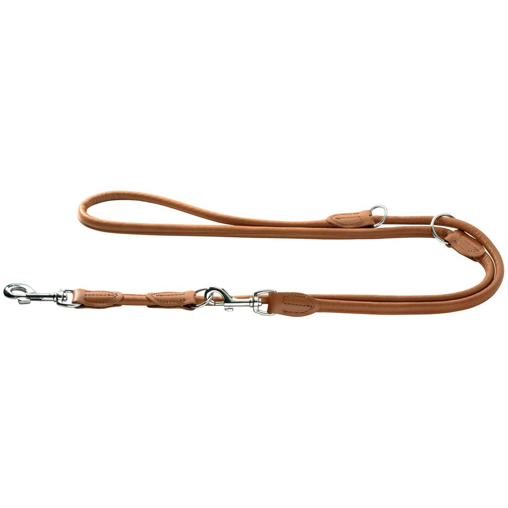 Hunter Hundeleine aus Elchleder Round & Soft, 1 m lang, 8mm breit, cognac