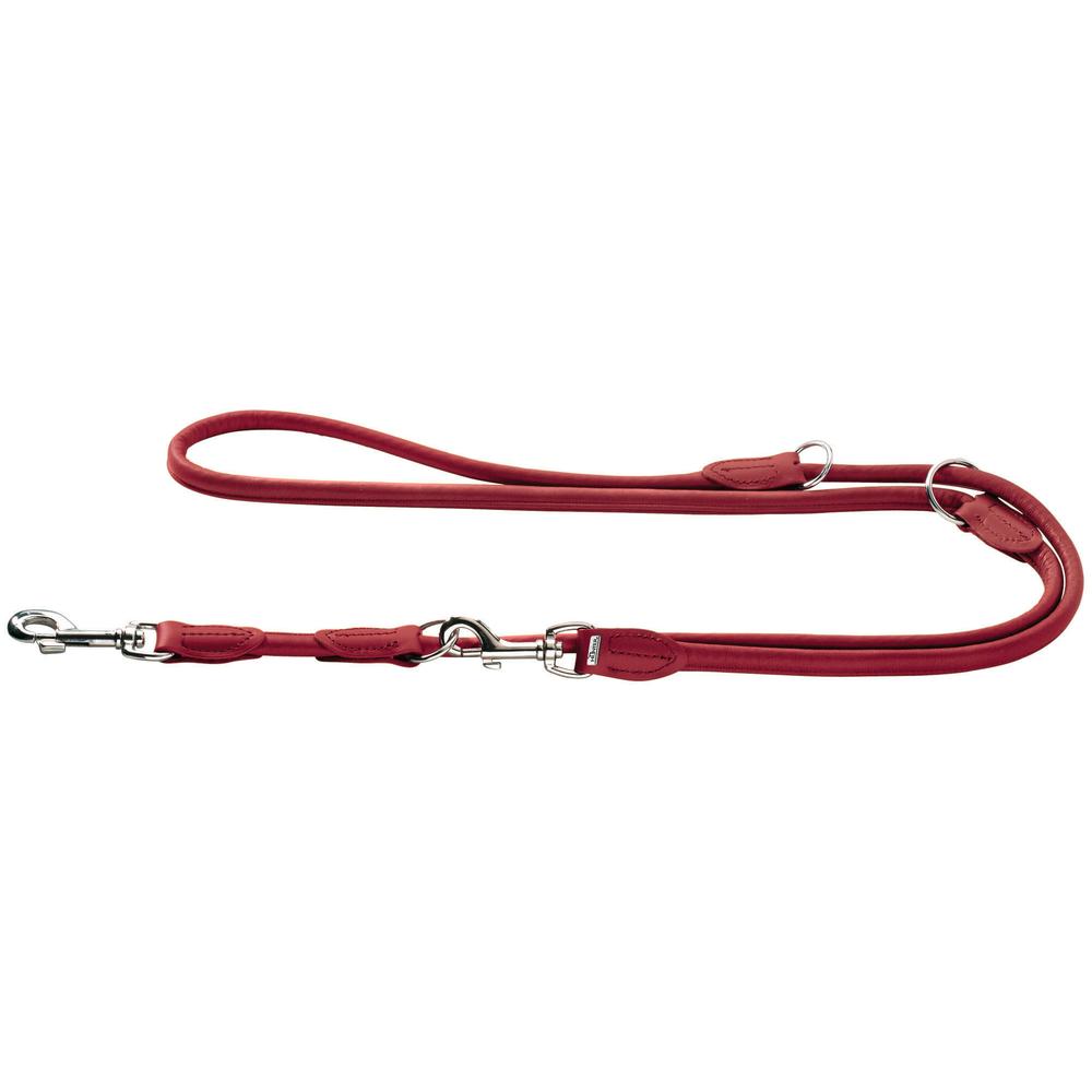 Hunter Hundeleine aus Elchleder Round & Soft, 1 m lang, 8mm breit, chilli