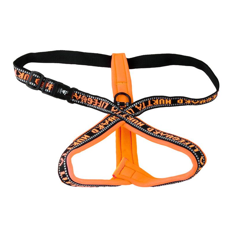 Hurtta Y Geschirr für Hunde gepolstert, orange, 45, Brust 40-45 cm, Hals 34 cm