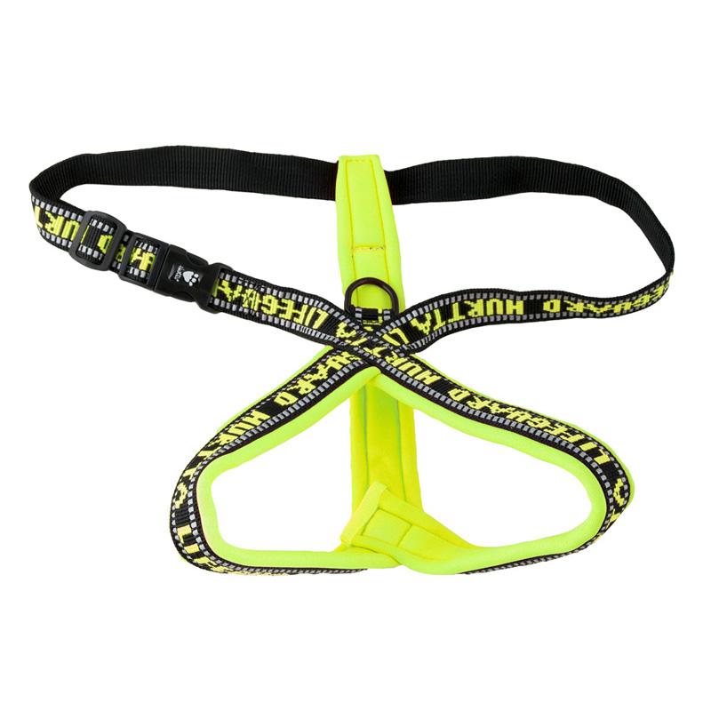 Hurtta Y Geschirr für Hunde gepolstert, gelb, 70, Brust 60-70 cm, Hals 48 cm