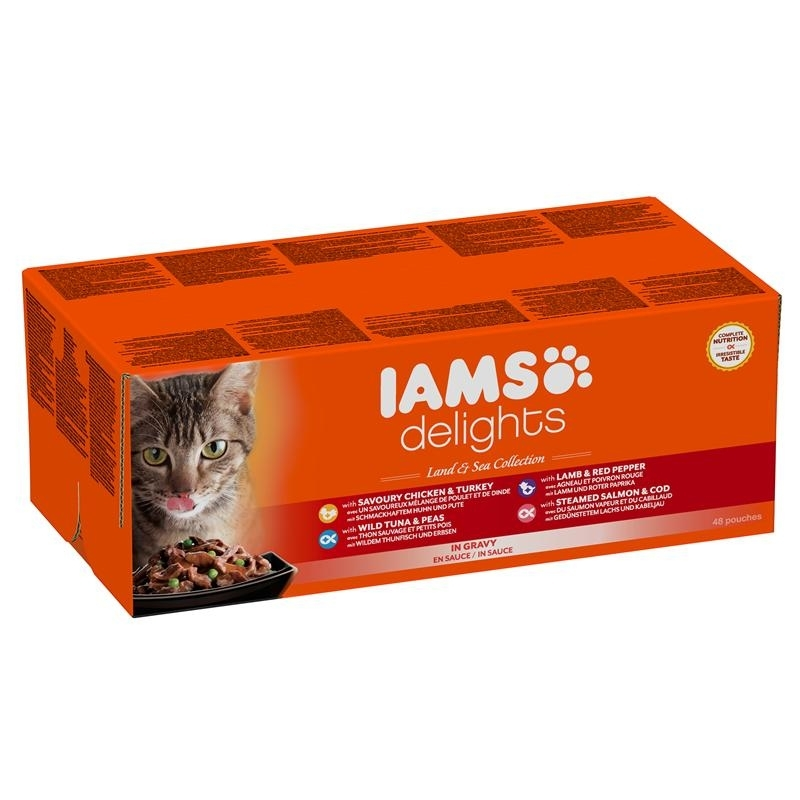 IAMS Delights Erwachsene Katzen Mix in Sauce Katzenfutter, 48 x 85 g