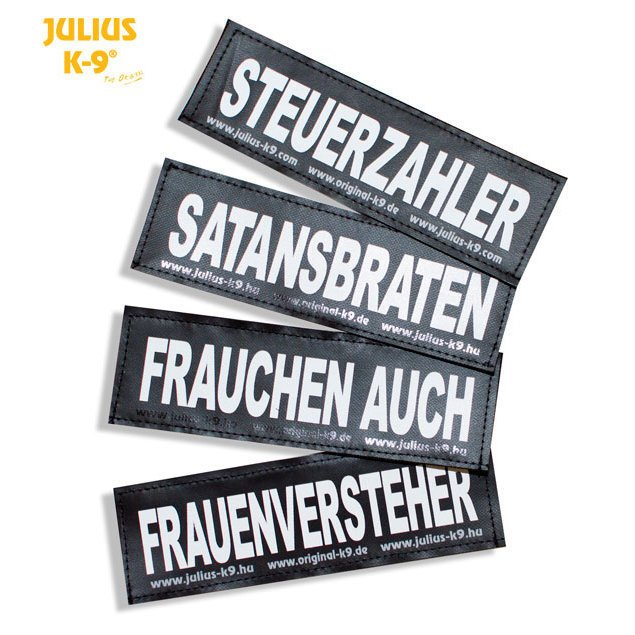 Julius K9 Logo Klettsticker groß G-L, HAPPY BIRTHDAY!