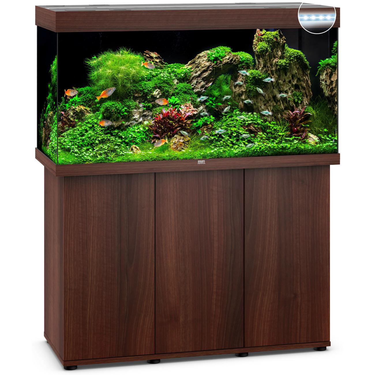 JUWEL RIO 350 LED Aquarium mit Unterschrank, 121 x 51 x (66+80) cm, dunkles Holz
