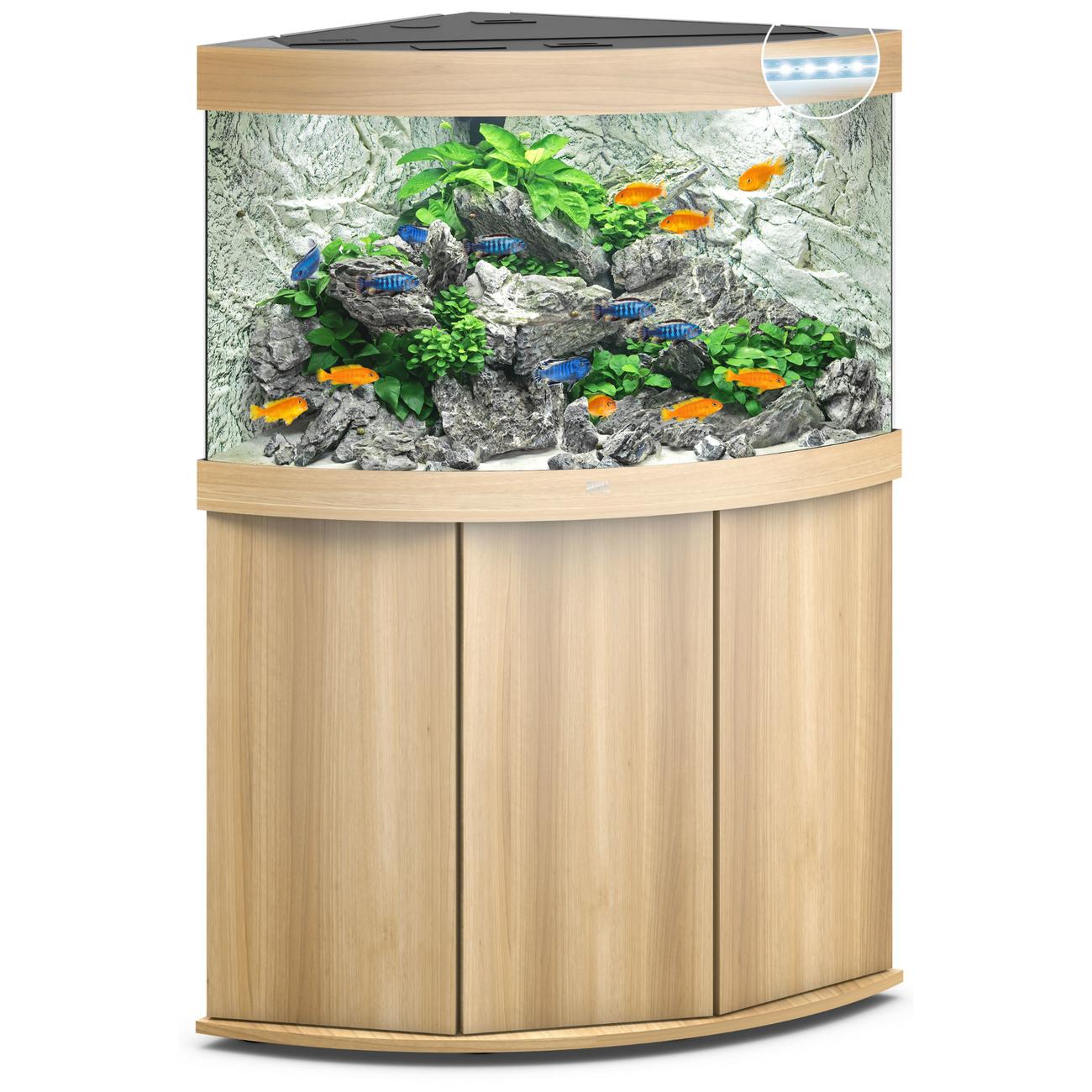 Juwel Trigon 190 LED Eck-Aquarium mit Unterschrank, 190 Liter, helles Holz
