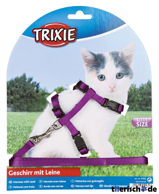 Trixie Katzengeschirr mit Leine für Kitten, Geschirr: 19-31cm / 8 mm, Leine, 1,20 m