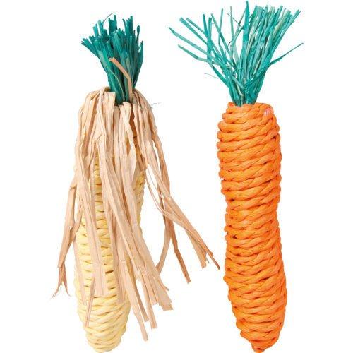 Trixie Karotte & Maiskolben, Stroh-Gemüse, 2 St., 15 cm