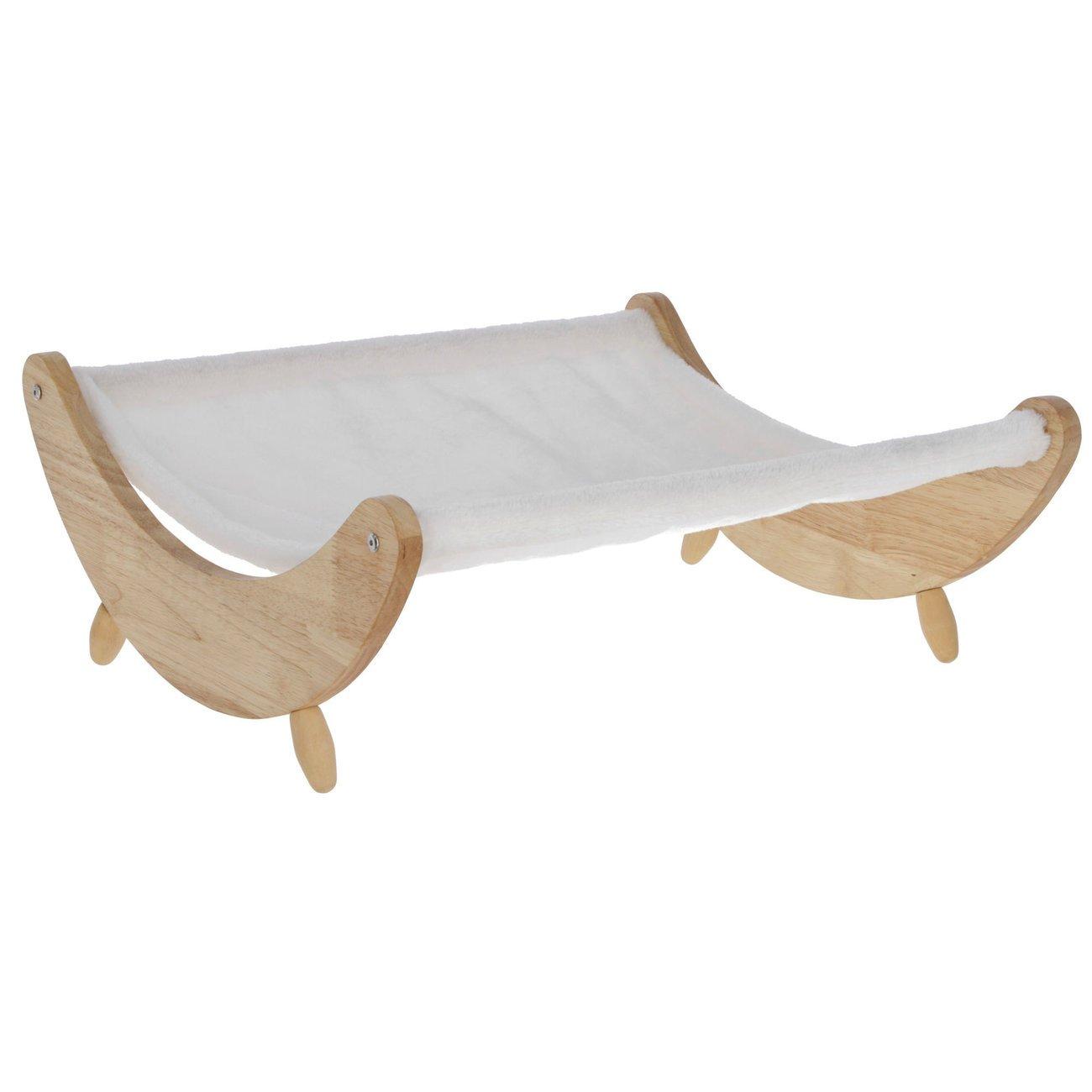 Kerbl Katzen Hängematte Dream, weiß mit Holzgestell, 51x46x19,5 cm
