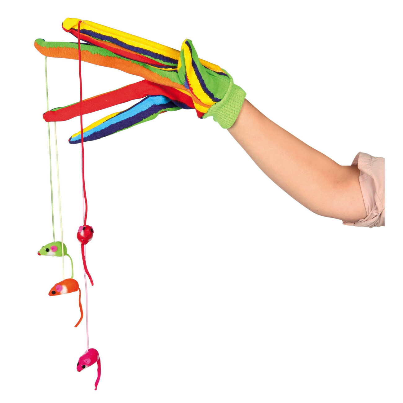 Trixie Katzen Handschuh mit 4 Hängemäusen, Handschuh mit 4 Hängemäusen