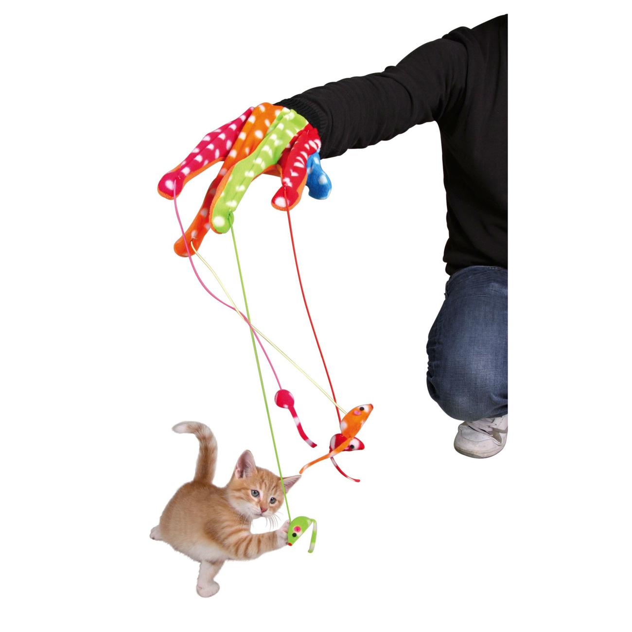 TRIXIE Katzen Handschuh mit 4 Hängemäusen 45631, Bild 3