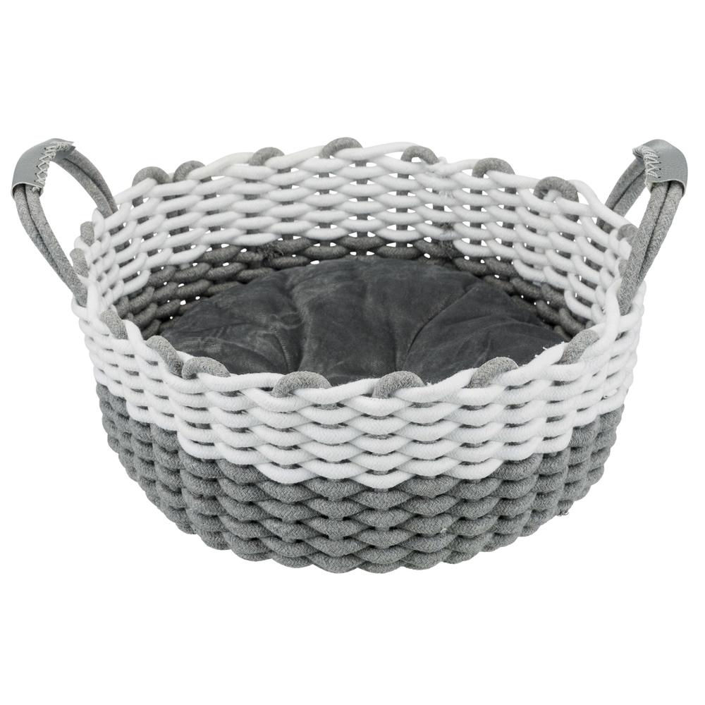 Trixie Katzenkorb Nabou, gewebt, ø 45 cm, grau/weiß