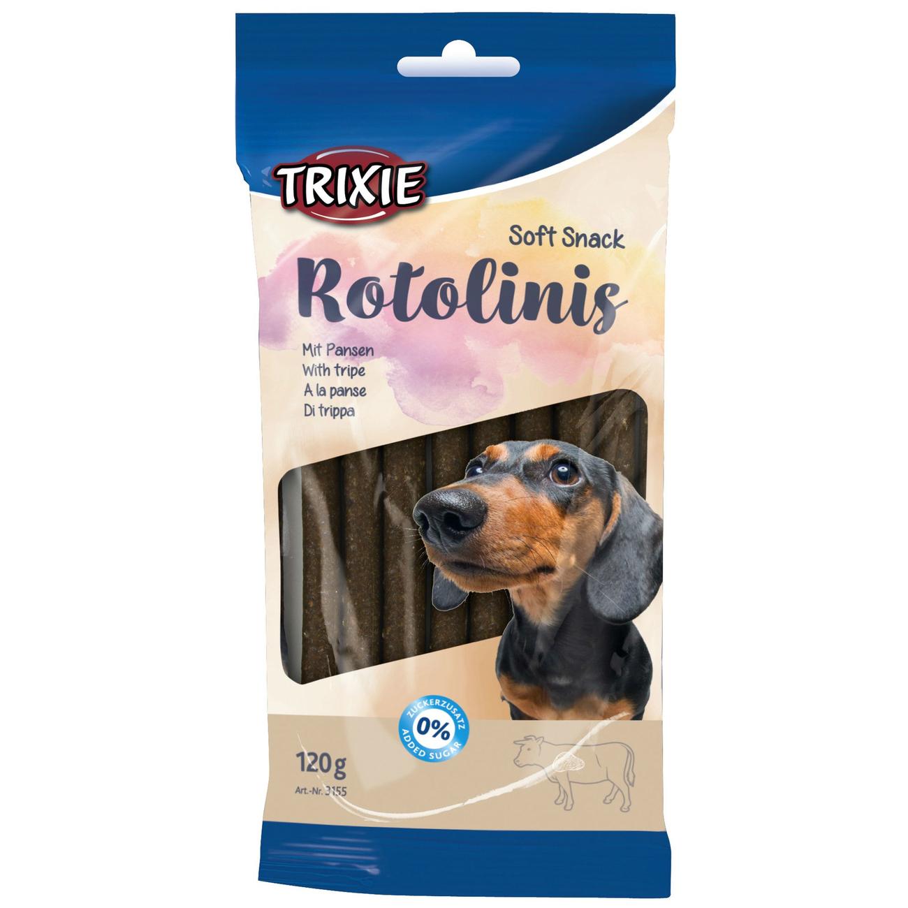 Trixie Kaustangen Hund Rotolinis, Pansen, 12 Stück, 120 g, ca. 12 cm
