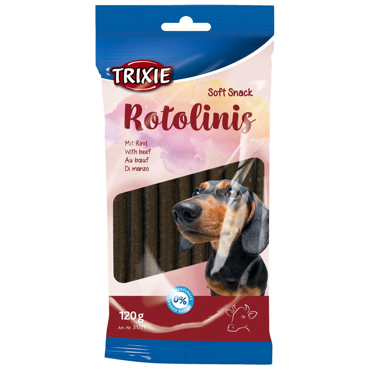 Trixie Kaustangen Hund Rotolinis, Rind, 12 Stück, 120 g, ca. 12 cm