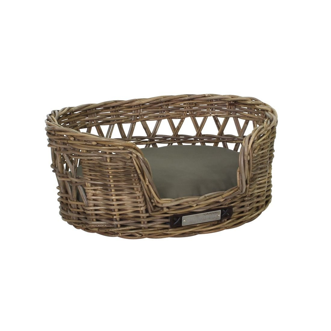 Happy House Klassischer Luxury Haustier-Rattankorb Oval, S: 55x45x24 / 50x42 cm
