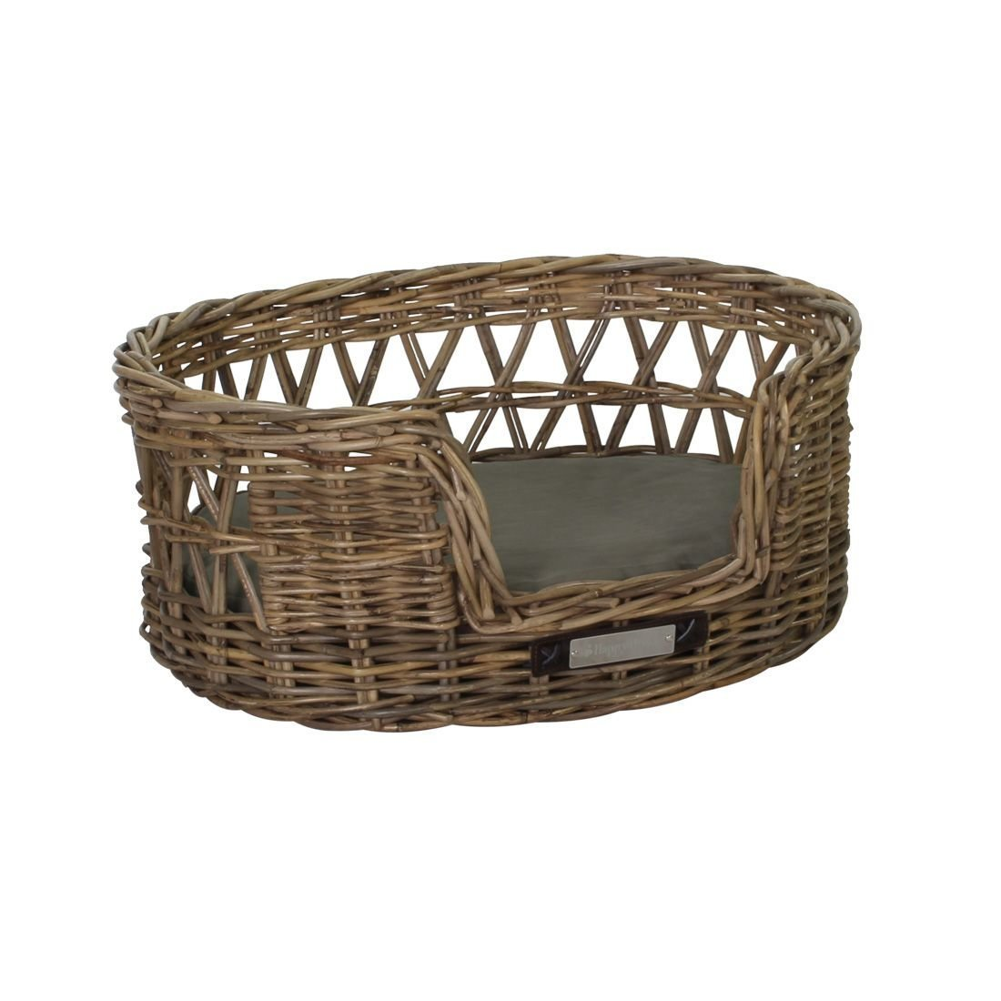 Happy House Klassischer Luxury Haustier-Rattankorb Oval, M: 65x55x27 / 62x48 cm